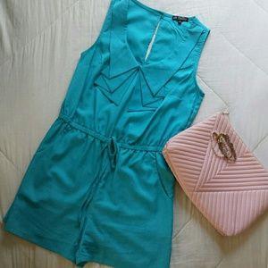 Sleeveless Turquoise Romper w/ Pockets